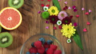 4k Colourful Composition of Fresh Berries - Wooden Background video