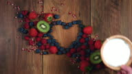 4k Colourful Composition of Fresh Fruits and Yogurt - Wooden Background video