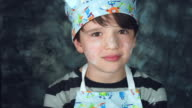 4k Colourful Shot of a Cook Child Holding Start Biscuit Shape video