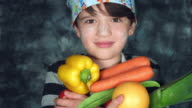 4k Colourful Shot of a Cook Child Posing with a Handful of Vegetables video