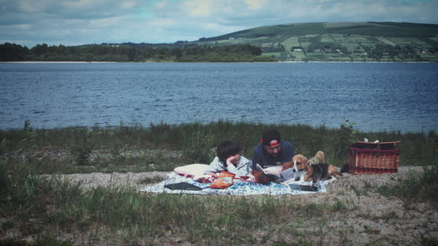 4k Dad, Son and Dog Having Picnic video