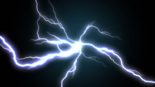 4k Electric Lighting Energy Animation, Blue Color. video