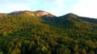 4k epic cinematic aerial of Table Rock State Park in South Carolina at sunrise video