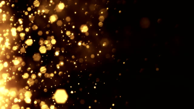 4k Gold Particles Horizontal Movement - Background Animation - Loopable video