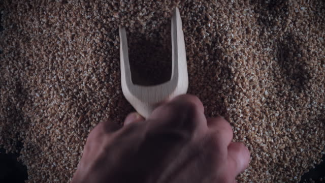 4k Grains Background, Scoop Taking Wheat Groats video