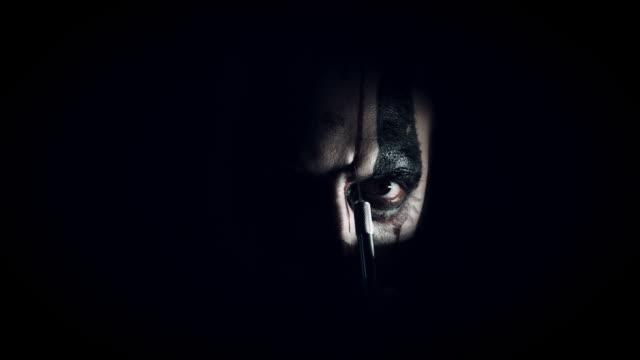 4k Halloween Horror Clown Man with Knife video