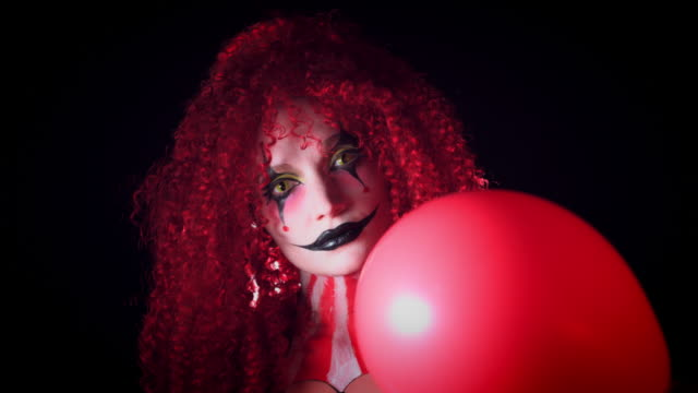 4k Halloween Horror Clown Woman with Balloon video