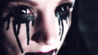 4k Halloween Shot of a Horror Woman With Black Liquid, close-up video