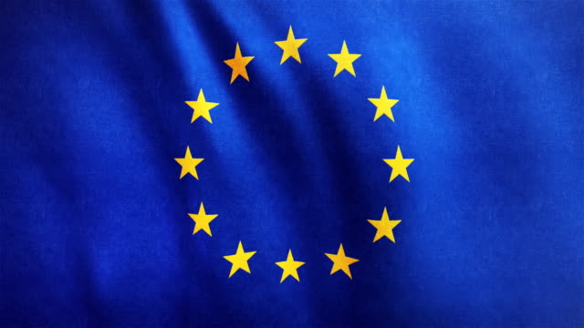 4k Highly Detailed Flag Of Europe - Loopable video