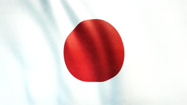 4k Highly Detailed Flag Of Japan - Loopable video