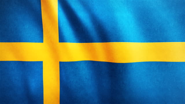 4k Highly Detailed Flag Of Sweden - Loopable video