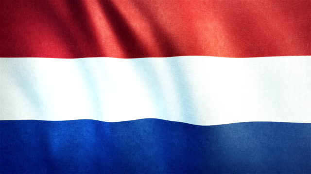 4k Highly Detailed Flag Of The Netherlands - Loopable video