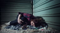 4k Homeless Drugged Woman Shaking with Overdose video