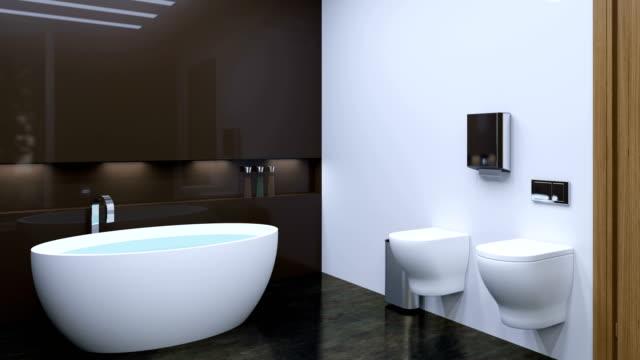 4k. Interior View Of Beautiful Luxury Bathroom video