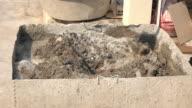 4k, manual cement mixer video