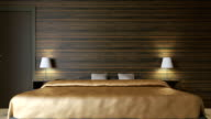 4k. Modern white bedroom minimal style. video