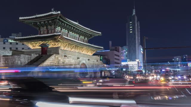 4k Night Timelapse Heunginjimun gate in Dongdaemun seoul korea video