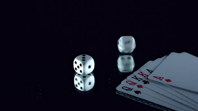 4k Poker Composition or card and Dice Spinning video
