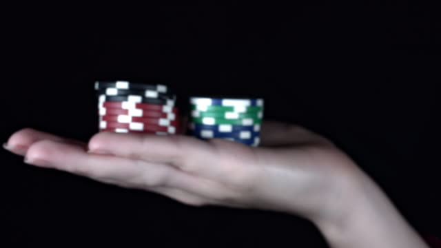 4k Poker Composition Win Chips in Hand video