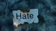 4k shoot of a creative composition with hate word on fire video