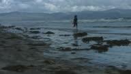4k Shot of a Dirty Beach and a Boy Running video