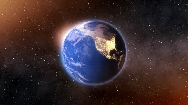 4k Spinning Earth On Space Background Animation Seamless Loop video