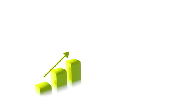 4k Three Dimensional Growing Business Bar Chart Animation, Yellow Color video