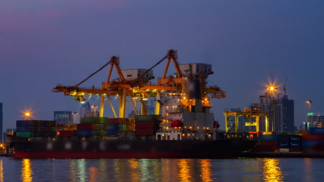 4k Time Lapse Day to Night(4096x2160) :Loading Goods cargo panning style (Apple ProRes 422 (HQ) format). video