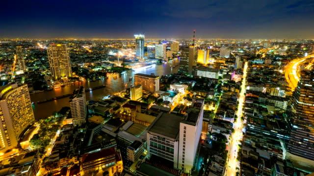 4k Time Lapse Night Cityscape Of Bangkok City, Thailand video