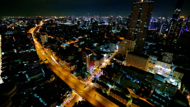 4k Time Lapse Night Cityscape Of Bangkok City, Thailand video