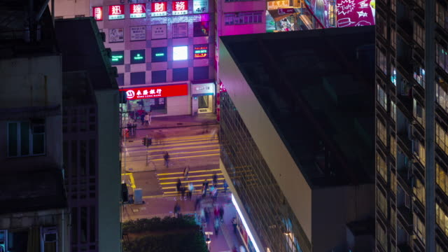 4k time lapse of busy traffic crossroad from roof top in hong kong video