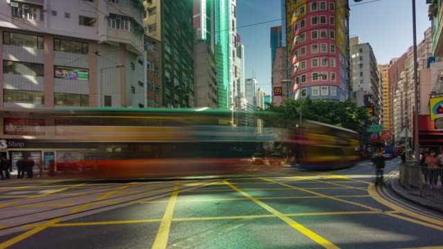 4k time lapse of extremely busy traffic street in hong kong china video