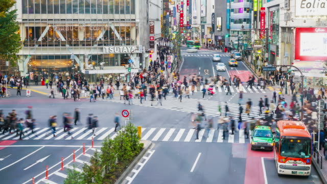 4k timelapse crowded people at Shibuya in Tokyo video