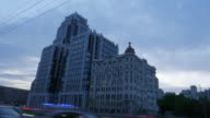 4k timelapse of Building in Russia, moscow center in evening. This building is the remarkable monument of the modern style architecture video
