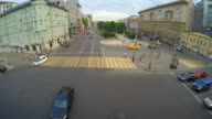 4k timelapse of crosswalk with people and cars video