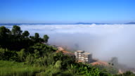 4k Time-lapse of fog in the morning with mountain at Khao Kho, Phetchabun, Thailand video