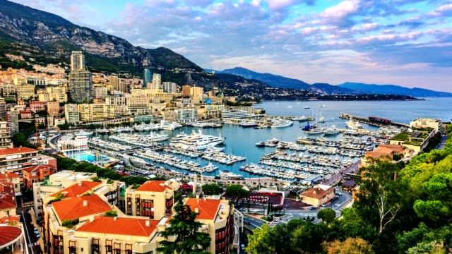 4k timelapse of Port Hercules on the sunset from day to night, port de Hercule, marina, MONTE-CARLO, MONACO video