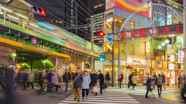 4k time-lapse of Shimbashi commercial and night life district near shimbashi station with crowd of people (zoom in camera) video
