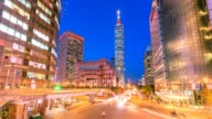 4k Timelapse of Taipei World Trade Center and Taipei 101 in Xinyi Business District video