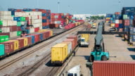 4k time-lapse : train with container in shipyard video