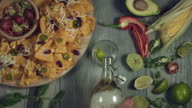4k Traditional Mexican Food and Beer, Opening Bottle and Pouring video