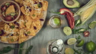4k Traditional Mexican Food and Beer, Taking a Crisp and glass video