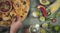 4k Traditional Mexican Food and Beer, Taking Tortilla video