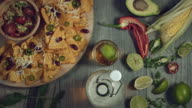 4k Traditional Mexican Food and Beer, Tortilla on Moving Plate video