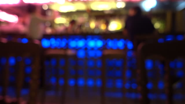 4k video , blurred background of counter bar in nightclub video