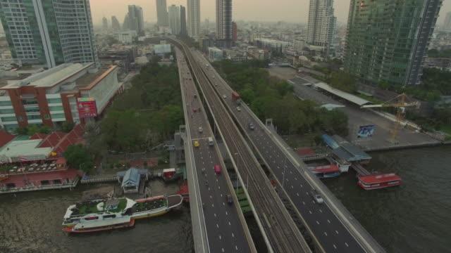 4K:Aerial Bangkok Riverside Downtown at sunset video