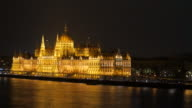 4K:Budapest Hungary parliament and danube river at night video