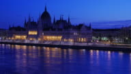 4K:Budapest Hungary parliament and danube river at twilight time video