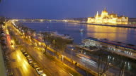 4K:Budapest Hungary Parliament building near danube river time-lapse movement video