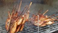 4K:Chicken grill thai food video